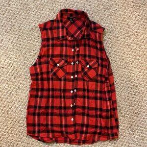 Sleeveless Red Plaid Snap Up Shirt